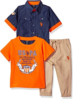Baby Boy's Short Sleeve Shirt, T-Shirt and Pant Set Pants