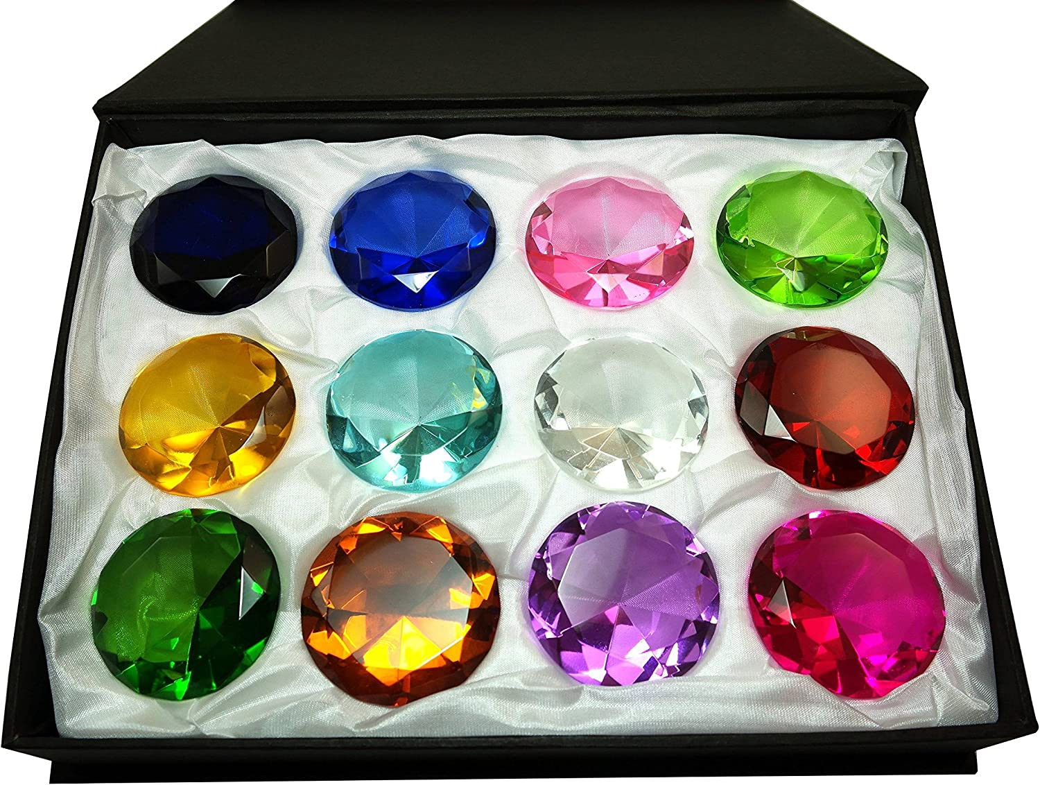12pc Box Set Diamond Shaped Crystal Jewel Paperweight by Tripact