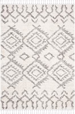 SAFAVIEH Berber Fringe Shag Collection BFG611A Moroccan Non-Shedding Living Room Bedroom Dining Room Entryway Plush 1.2-inch Thick Area Rug, 8' x 10', Cream / Grey