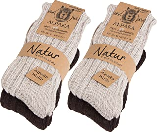 4 pares de calcetines de pura lana de alpaca naturales y grises