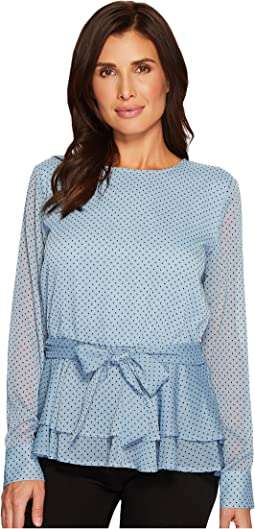 Ivanka Trump - Textured Woven Dotted Long Sleeve Blouse