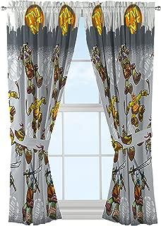 Nickelodeon Teenage Mutant Ninja Turtles Cross Hatching Gray Curtains/Drapes 4 Piece Set (2 Panels, 2 Tiebacks)
