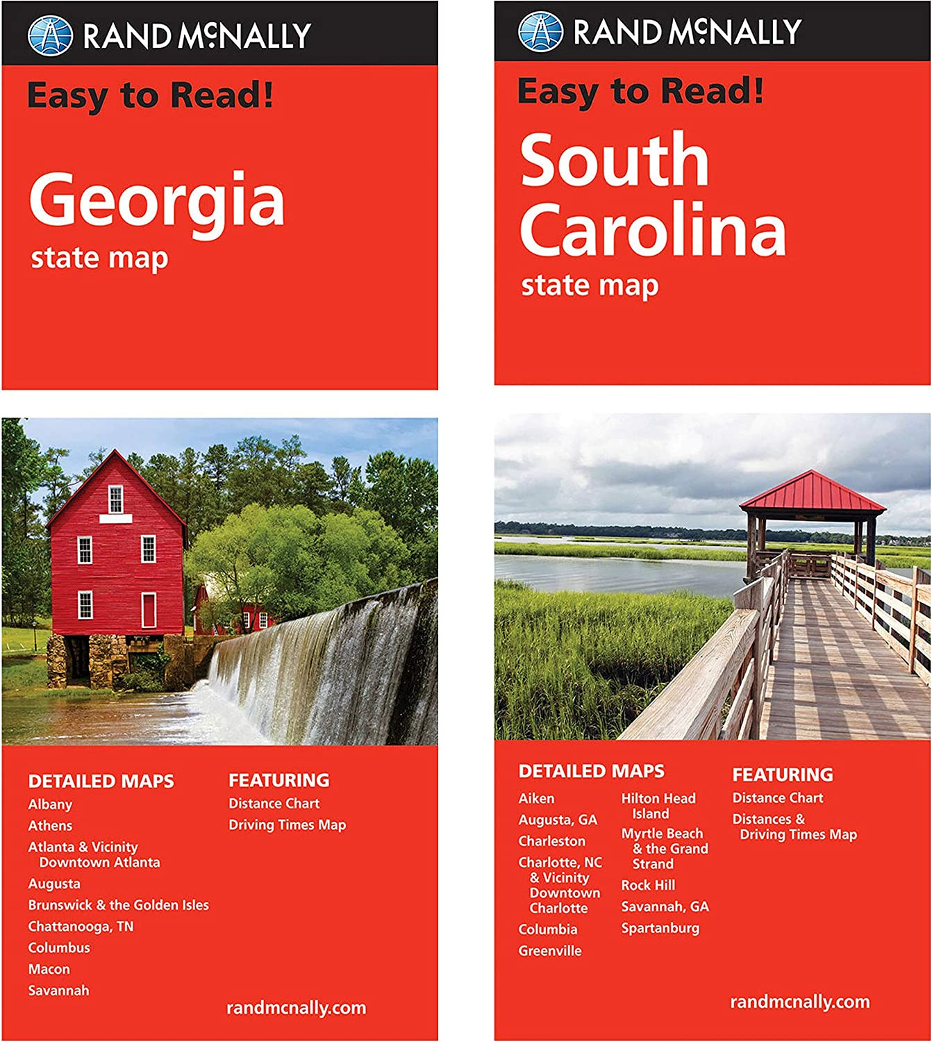 Rand McNally State Maps: Georgia OFFicial shop Free shipping New and South Carolina 2 Maps
