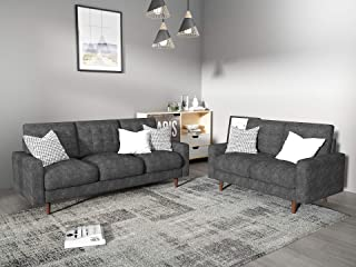 Container Furniture Direct Modern Tufted Velvet Living Room Sofa Set, 2 Piece, Gray