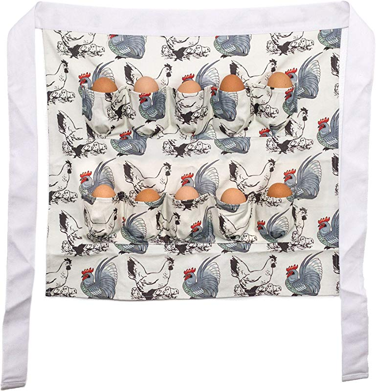 Chicken Egg Gathering And Collecting Apron Chicken And Rooster Print