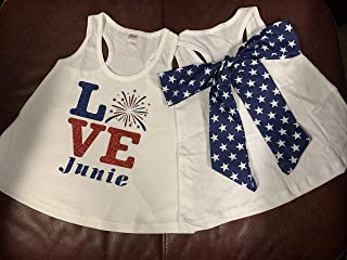 Handmade Labor Memorial Day and 4th of July Shirt with Bow on Back Love Fireworks Star Detachable Bow