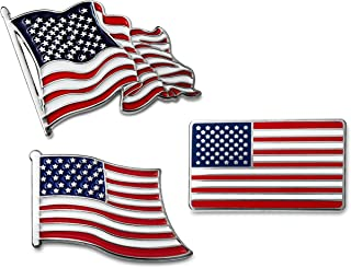 3-Pc American Flag Lapel Pin Set USA Patriotic Collection in Gift Box
