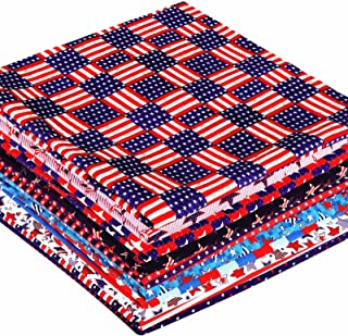 10 Piece Independence Day Fabric Fourth of July Fabric American Flag Pattern Fabric American Flag Star Polyester Fabric fo...
