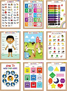 Kids Educational Posters Learning Charts, 9 Learning Resources and Wall Decor For Toddlers Preschool Children's Room Nurse...