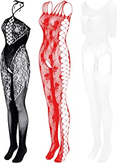 Boao 3 Pieces Women Fishnet Dresses Mesh Lingerie Fishnet Hollow Fishnet Sleepwear for Women Daily Favor