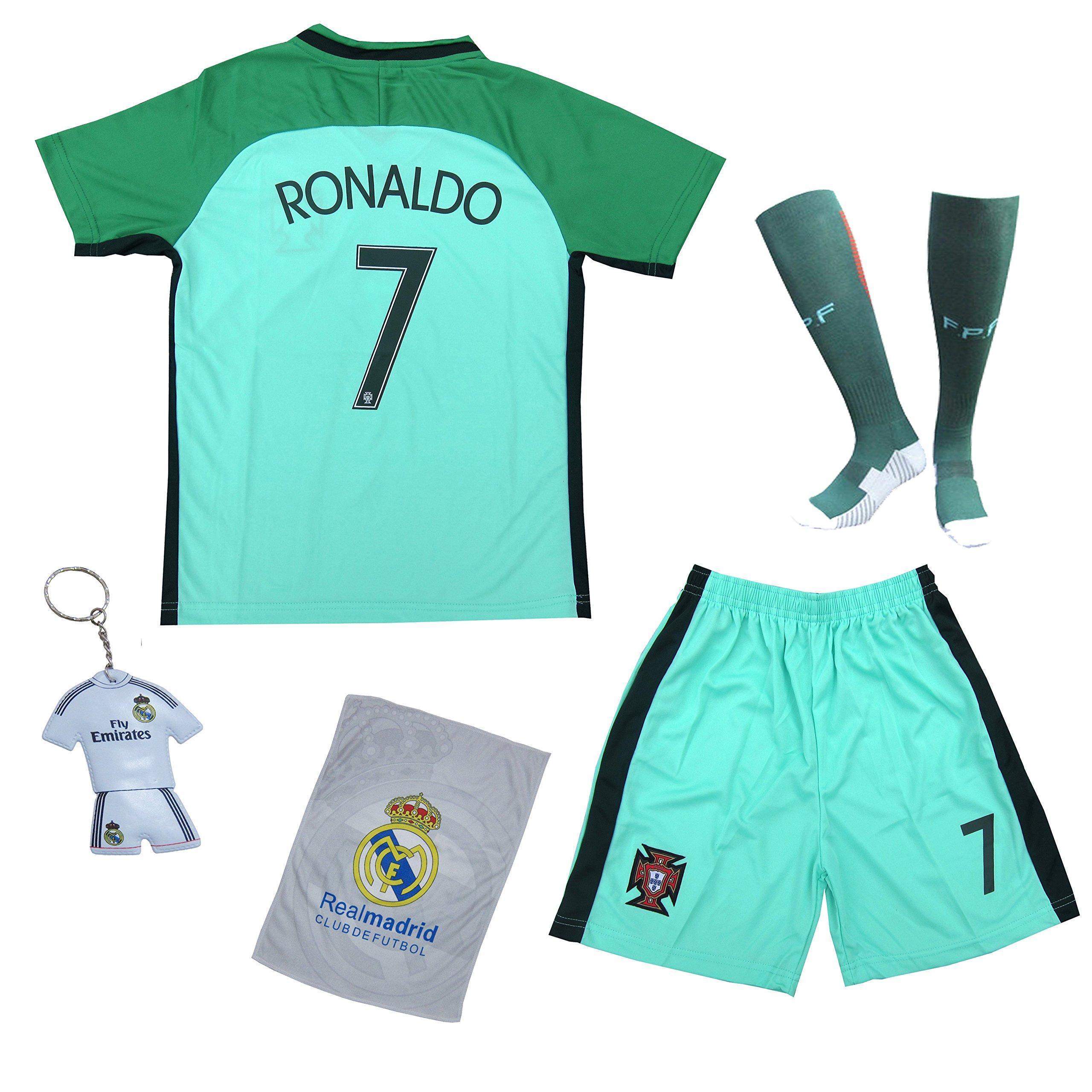 Mundial de Fútbol 2018 – Segunda equipación de Portugal nº 7, Cristiano Ronaldo, visitante – verde – para niño – camiseta, pantalón y medias, 18 (3-4 Jahre): Amazon.es: Deportes y aire libre