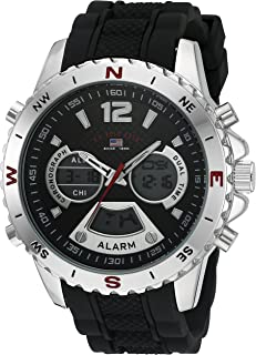 U.S. Polo Assn. Sport Men's Quartz Watch with Rubber Strap, Black, 22 (Model: US9550)