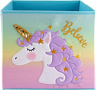 Unicorn Storage Bins Foldable - Toy Box Collapsible Cube - Boxes for Shelves - Box Storage Decorative - Kids Toys Organizer - Rainbow Container