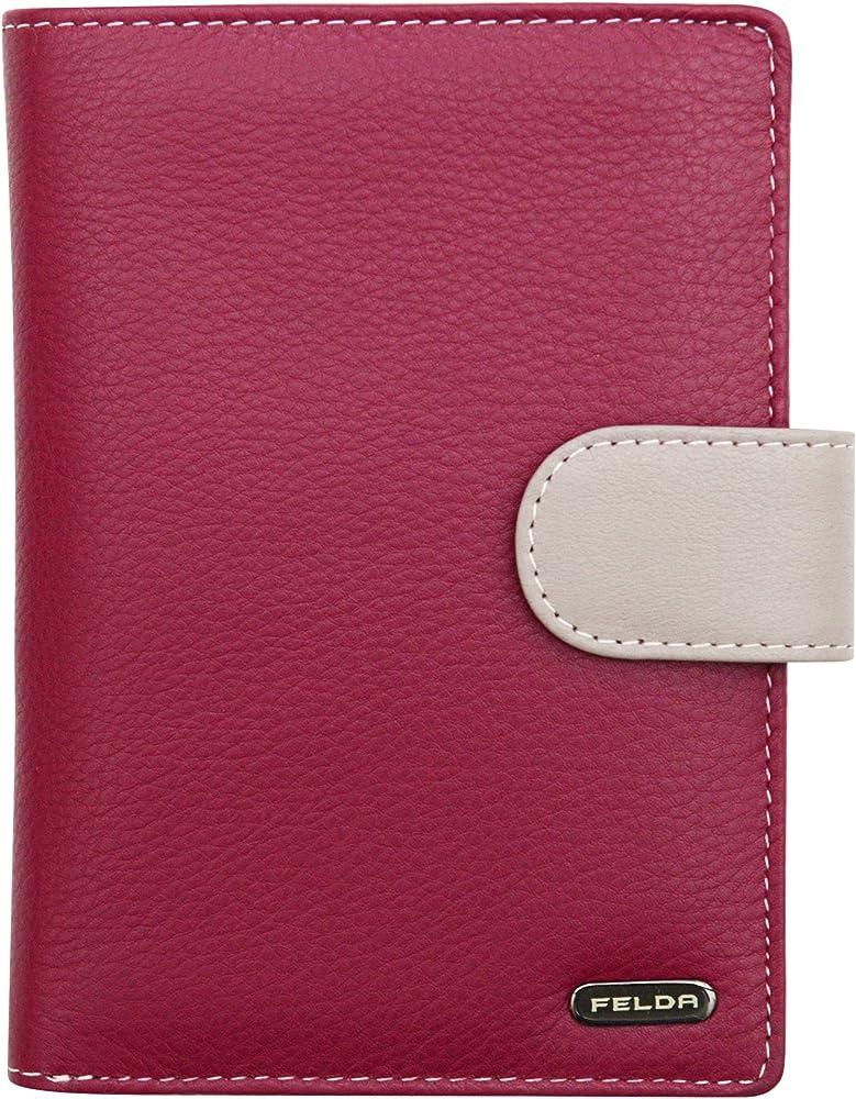 Felda - ampio portafoglio da donna,porta carte di credito, con protezione rfid, in pelle 16-105 Maroon Multi