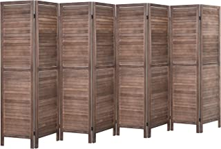 Rose Home Fashion RHF 8 Panel 5.6 Ft Tall Wood Room Divider, Wood Folding Room Divider Screens, Panel Divider&Room Dividers, Room Dividers and Folding Privacy Screens (8 Panel, Brown)