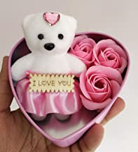 SillyMe Valentine Gift - 1 Cute Teddy with 3 Roses in Small Heart Shaped Box (Baby Pink)