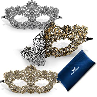 One Masquerade Mask for Women 2 Sides - Unique Luxury Design One Side Gold and One Silver Girl Lace Venetian Eye Mask - Party Supplies Accessories Carnival Mardi Gras Anniversary Ball Prom Halloween