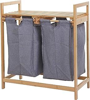Mendler Collecteur de Linge HWC-B83, Trieur de Linge, Panier, Bambou 2 Compartiments 74x64x33cm, 70l - Gris foncé