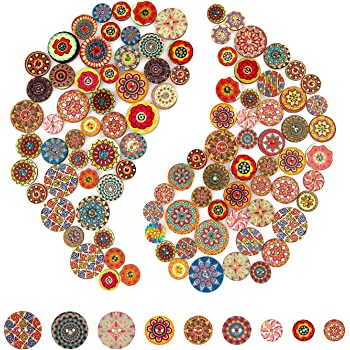 AIEX 100 Pcs Mixed Random Flower Painting Round Shapes Wooden Retro Buttons Assorted Colors for Sewing Crafting DIY 15mm, 20mm, 25mm