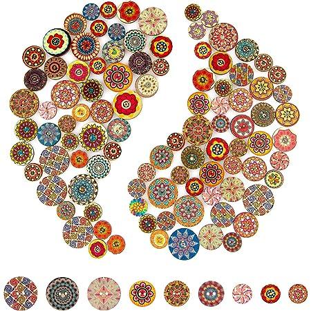 AIEX 100 piezas Mixto Botón Aleatorio Pintura de Flores Formas Redondas Madera Botones (15mm/20mm/25mm)