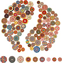 AIEX 100pcs Mixed Random Flower Painting Round Shapes Wooden Retro Buttons Assorted Colors for Sewing Crafting DIY 15mm, 2...