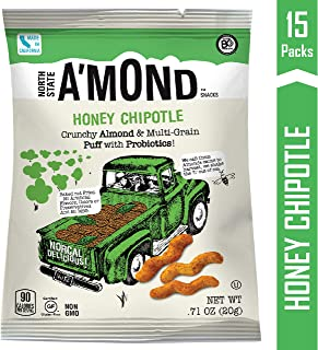 Honey Chipotle Snack Puffs by A'mond Snacks, 15 Count, Single Serve Bags .71 oz Each, Almond and Ancient Grain Plant-Based Blend, Gluten-Free and Non-GMO