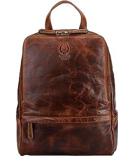 Corno d'Oro mochila de piel para mujer BP818, bolso pequeño para viaje y compras, Daypack con bandolera vintage marrón