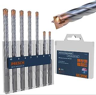Presch SDS-Plus Carbide Drill Bit Set X4-7 pcs - Reinforced Concrete Drill Bit with 4 Cutting Edges and Dowel Length Indicator - Drill Bit for Concrete, Granite, Brick, Masonry - Ø 5-10mm