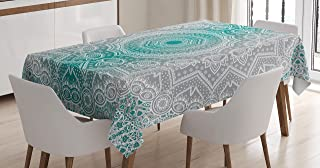 Ambesonne Grey and Teal Tablecloth, Mandala Ombre Geometry Occult Pattern with Flower Lines Display Artwork, Rectangular Table Cover for Dining Room Kitchen Decor, 60