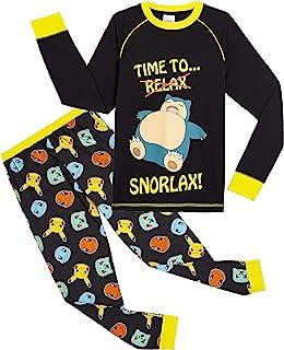 Pokèmon Pijama Niño Diseño con Snorlax | Pijama Infantil Invierno | Pijama Manga Larga Niño De Pikachu | Pijama para Niños...