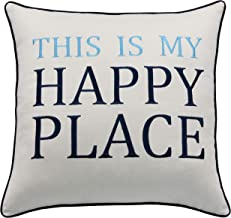 RUDRANSHA Pillowcase Motivational Quote Housewarming Gift This is My Happy Place Pillow,Apartment Decor,Wedding Gift,Housewarming Gift, Home Pillow, Sofa Pillow (Ivory(Blue) Happy, 18x18)