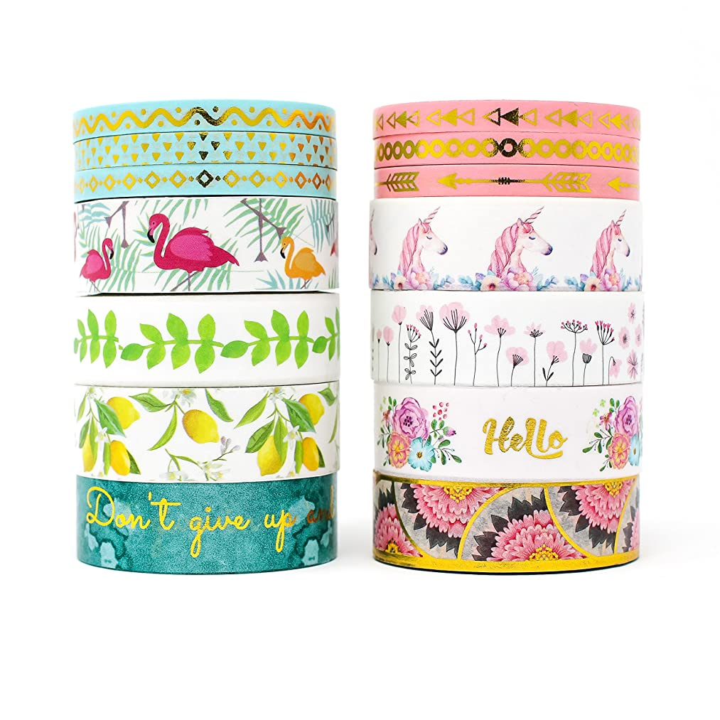 Miss Pettigrew Premium 2-in-1 Washi Tape Set - Tropical Flamingo and Unicorn Dreams - 14 Extra-Long 10m Rolls of Decorative Colored Masking Tape