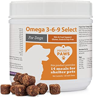 Project Paws Omega 3-6-9 Select Fish Oil for Dogs - Krill Oil Skin and Coat Supplement