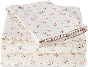 Amrapur Juego de sábanas de Microfibra lujosamente Suave 100% Microfibra Rosa Impreso Juego de sábana Bajera con Bolsillo Profundo, sábana encimera y 2 Fundas de Almohada, Rosa, Individ