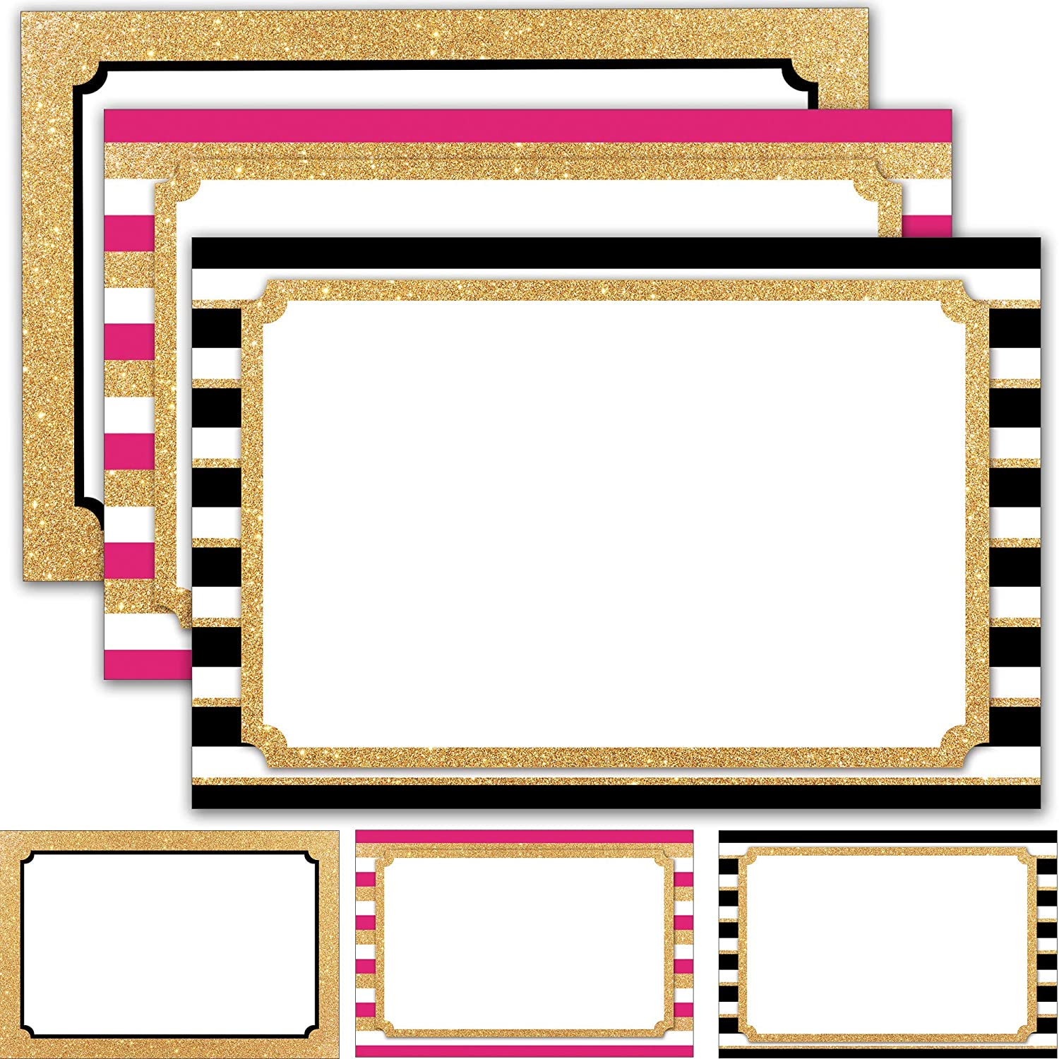 """60 Retail Signs 4"""" x 6"""" - Blank Sign Cards for Tags, Labels, Store Display Signage - Faux Glitter Gold and Neon Pink Theme"""