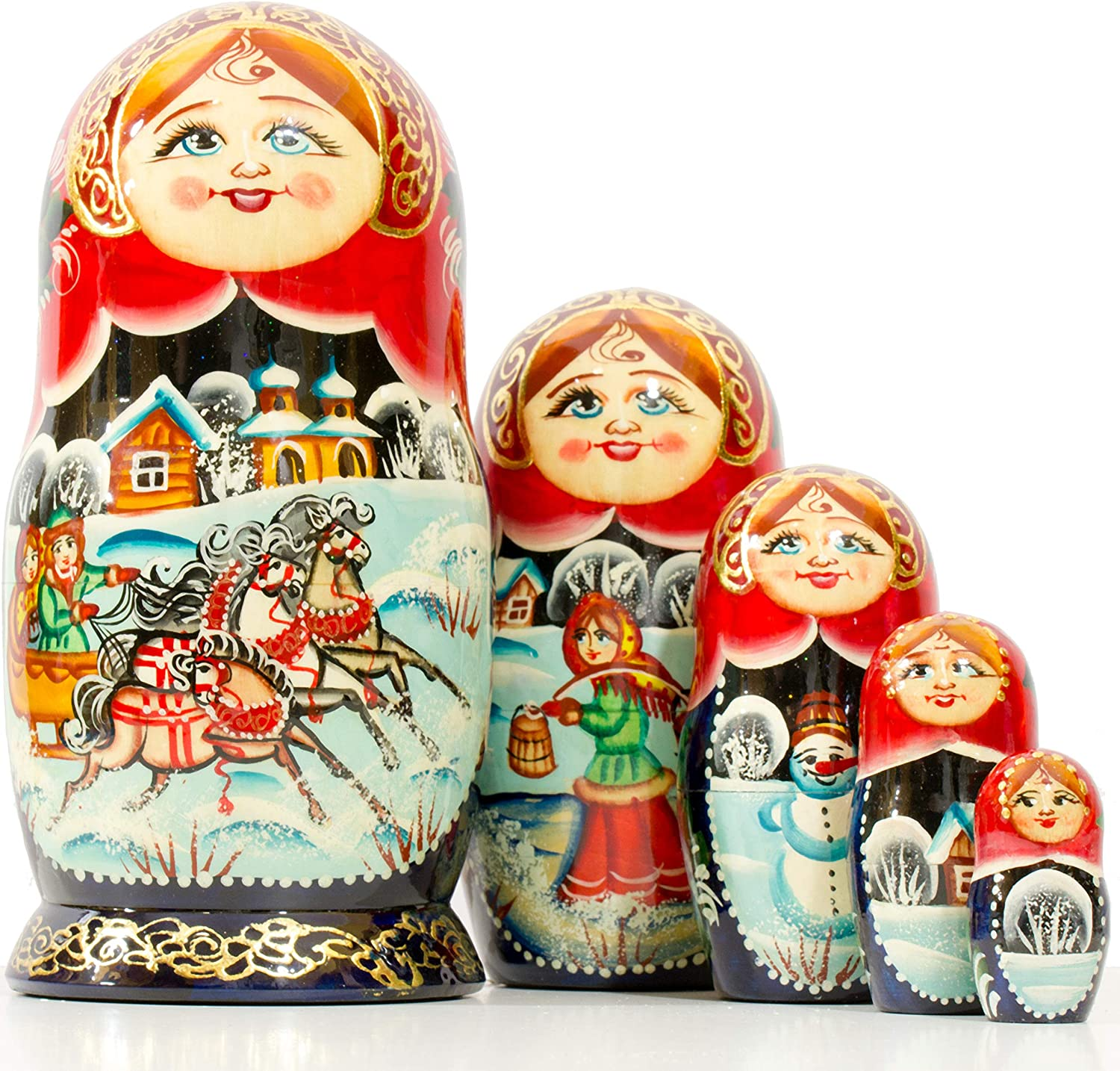 Russian Nesting Doll - Village Max 2021 autumn and winter new 83% OFF in Russia Scenes Painted Hand