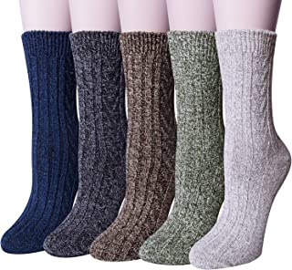 5 Pairs Womens Wool Socks Thick Knit Vintage Winter Warm...