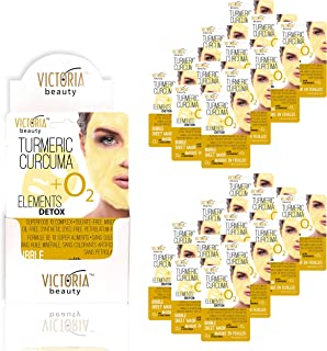 Victoria Beauty Elements Detox Bubble Sheet Mask with Turmeric + 10 Super Foods for Super Clean, Clear, and Glowing Skin, 20 gr - 24 Mask Bundle