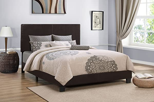 Furniture World Cody Contemporary Upholstered Bed Twin Brown