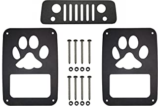 VroomTec Jeep Wrangler Aluminum Tail Light Guards - Accessories Include Third Brake Light Cover and All Hardware for JK and JKU (2007-2018) - Precision Made Covers - Never Rust (Paw)