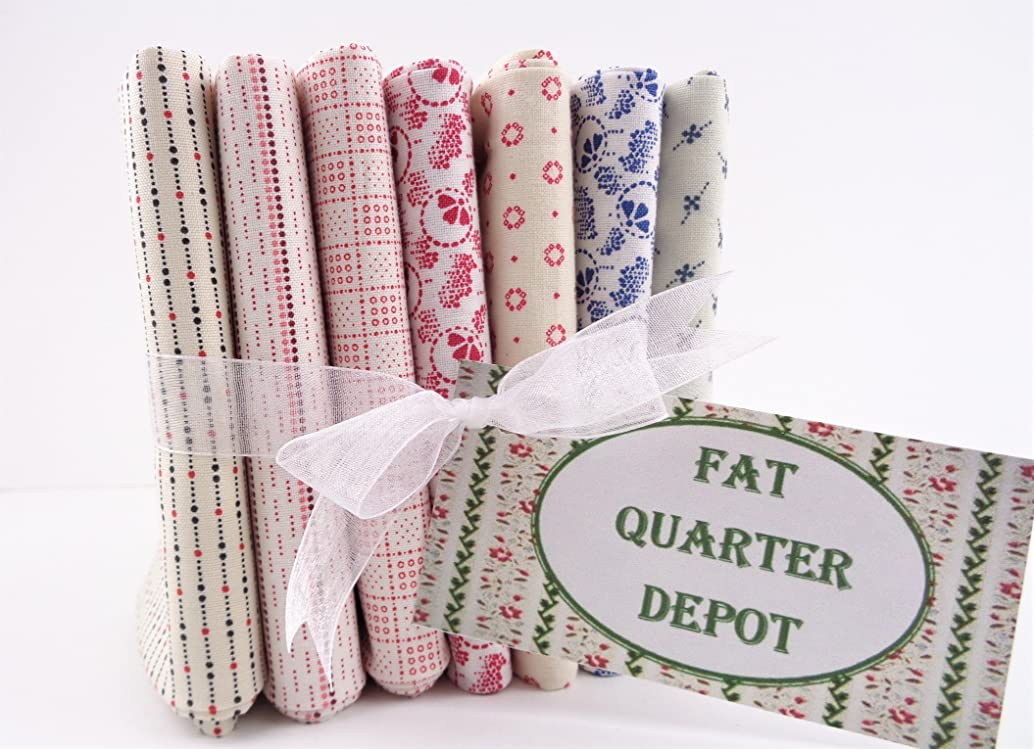 Fat Quarter Bundle 7 Red White Blue Shirting Prints Cotton Fabrics