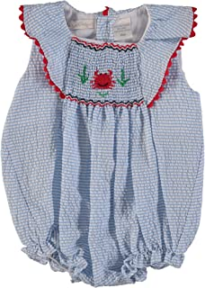 Carriage Boutique Baby Girl Blue Striped Bubble with Ruffles - Smocked Crab