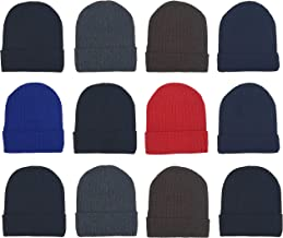 Winter Beanies, 12 Pack Unisex, Warm Cozy Hats Fold Over Cuffed Skull Cap Toboggan Men Women Wholesale Bulk