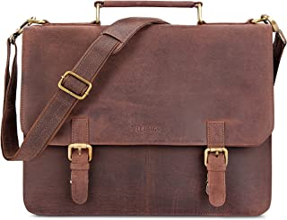 LEABAGS Gainsville Aktentasche Laptoptasche 15 Zoll Ledertasche im Vintage Look, (LxBxH): ca. 29 x 11 x 30 cm - Muskat