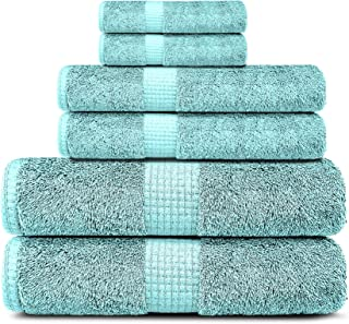 Lavish Touch 600 GSM 100% Cotton Ultra Soft Highly Absorbent Set of 6 Towels, 2 Bath, 2 Hand, 2 Face Towels