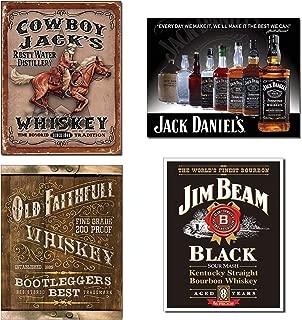 Bundle: Tin Whiskey Signs - Cowboy Jacks, Jack Daniels Bottles, Old Faithfull Whiskey & Jim Beam Black Label
