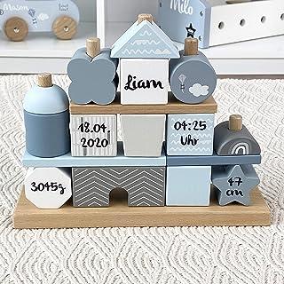 Kidslino Steckspiel Haus blau I Personalisierbares Geschenk zur Geburt Jungen I Handmade Holzspielzeug I Personalisierte G...