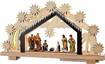 WeRChristmas Pre-Lit Wooden Nativity Scene Illuminated with 8 Warm LED Lights, 26 cm - Large, Multi-Colour