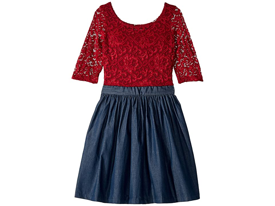 fiveloaves twofish Katherine Dress (Little Kids/Big Kids) (Burgundy) Girl