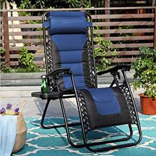 PHI VILLA Zero Gravity Chair Padded Recliner Adjustable Lounge Chair with Free Cup Holder (Blue)
